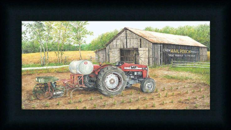Working the Fields by John Red Tractor Farm Framed Art Print Wall Décor Picture #FramedArtbyTilliams