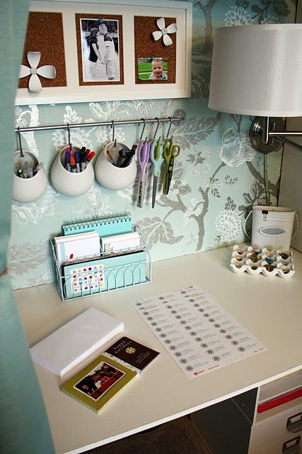 Organized Desk Area, pens etc hung on wall so accessible yet out of the way  http://iheartorganizing.blogspot.com/2010/06/june-featured-space-laundry-room-rack.html