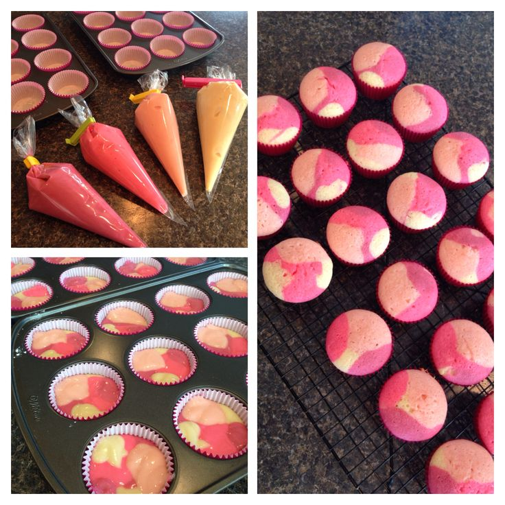 Pink camouflage cupcakes in the making