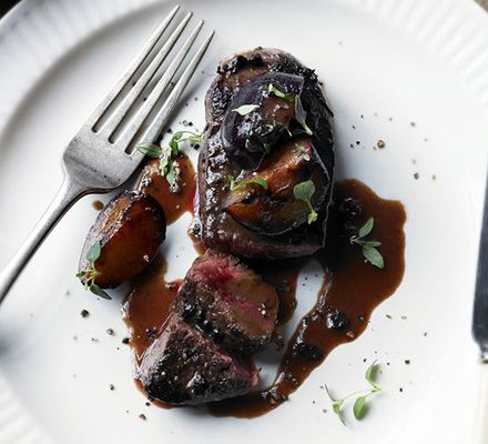 Splash out on some rich game meat for two, then serve seared to your liking with a deep fruity sauce