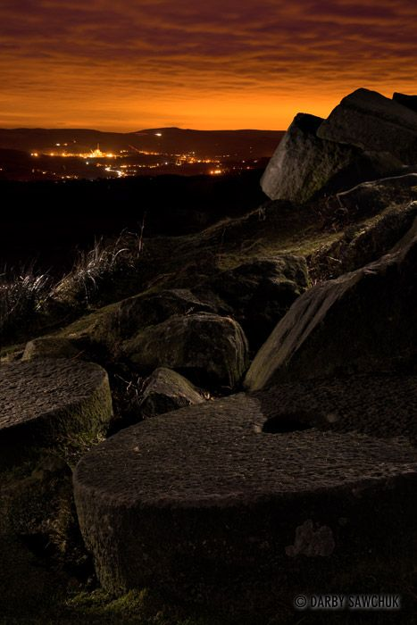 Abandoned millstones at Stanage Edge in the Peak Districk, England.