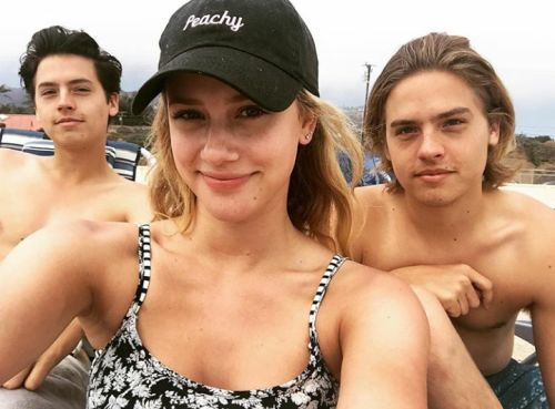 "sprousetwinsblog: ""Lili Reinhart with Dylan & Cole """