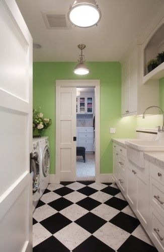 laundry room: Wall Colors, Floors, Green Wall, Sinks, Laundry Rooms Design, Pocket Doors, Rooms Ideas, Interiors Paintings Colors, Pockets Doors