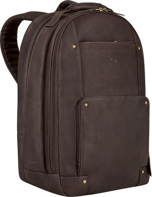 "SOLO Premium Leather 15.6"" Laptop Backpack Espresso"