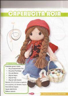 PATRONES GRATIS DE CROCHET: CAP u ERUCITA ROJA amigurumi a crochet... Patrón gratis