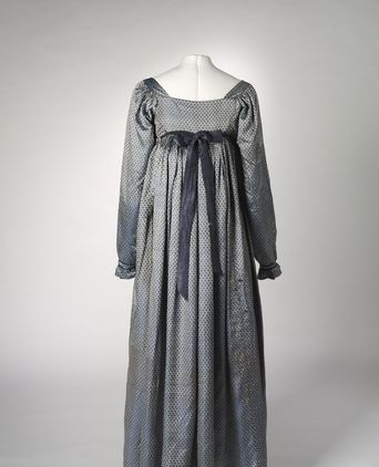 Blue & Silver Shot Silk Dress, English/Australian, 1810-1813. (Back View)