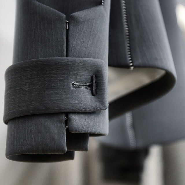 Structured jacket sleeve detail; pattern cutting & sewing inspiration; close up fashion details // InAisce Fall 2015