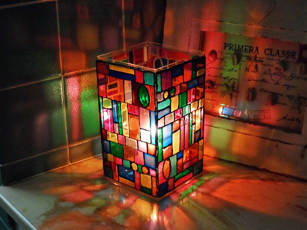 Learn how to make a Faux Stained Glass Mosaic Luminary   This would be pretty on a patio table or in any room or window sill