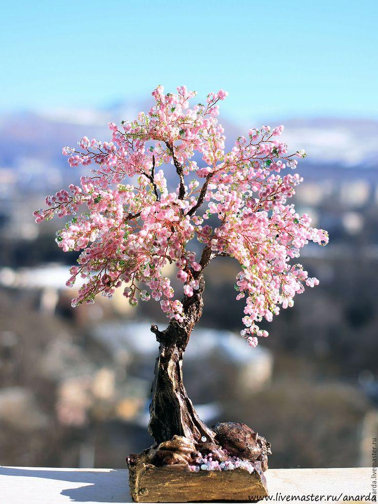 Купить Сакура - розовый, розовое дерево, романтичное, романтика, сакура, япония, бонсай из бисера