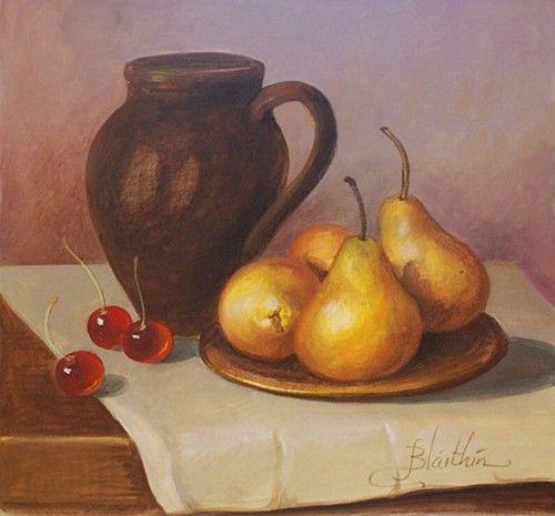 "Blaithin, ""Pears and Cherries"" #art #StillLife #pastel #cherries #pears #chalk #chalkpastel #DukeStreetGallery"
