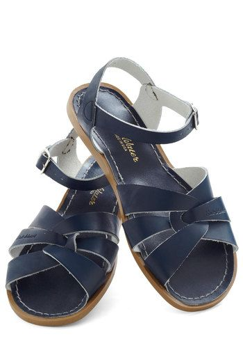 Outer Bank on It Sandal in Blue by Salt Water Sandals - Casual, Blue, Solid, Buckles, Cutout, Summer, Nautical, Flat, Beach/Resort, Leather, Variation, Top Rated