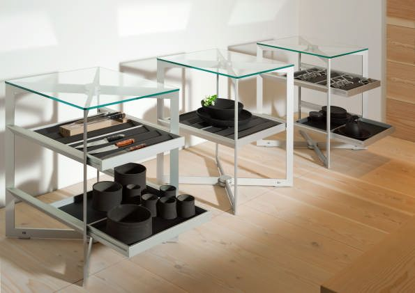 A trio of presentation elements at the bulthaup via Durini showroom. The glass solitaire units can be used in spaces adjacent to the kitchen as well as other rooms in the house. milan2014.bulthaup.com