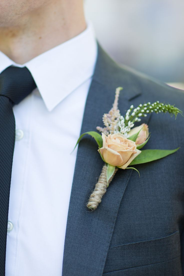 Boutonniere. Spray Rose. Veronica. Astilbe. Peach, White, and Green. Vale of Enna Flowers. Cristina G Photography. Soiree Weddings & Events. Chicago Wedding.