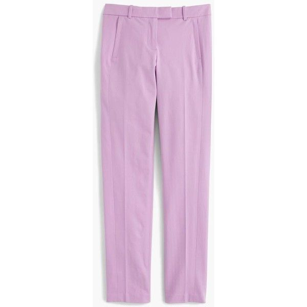 J.Crew Maddie Pant ($130) ❤ liked on Polyvore featuring pants, slim fitted pants, straight leg trousers, pink pants, j crew trousers and shiny pants