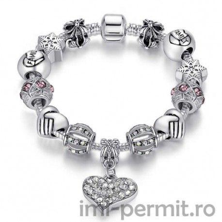 Bratara tip Pandora Silver Heart