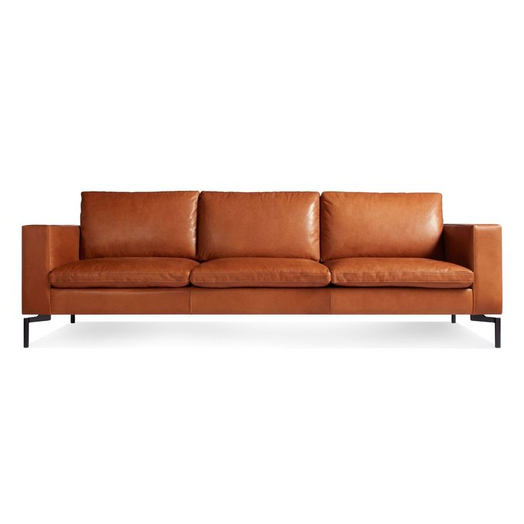 New Standard 3 Seat Leather Sofa - Toffee Leather / Black