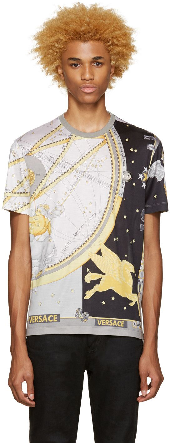 VERSACE Grey Silk Space T-Shirt. #versace #cloth #t-shirt
