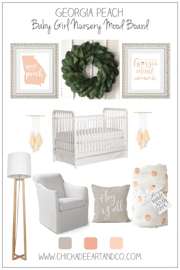Such a sweet and southern Georgia peach themed nursery! This peach nursery decor is so perfect for a little Georgia girl.