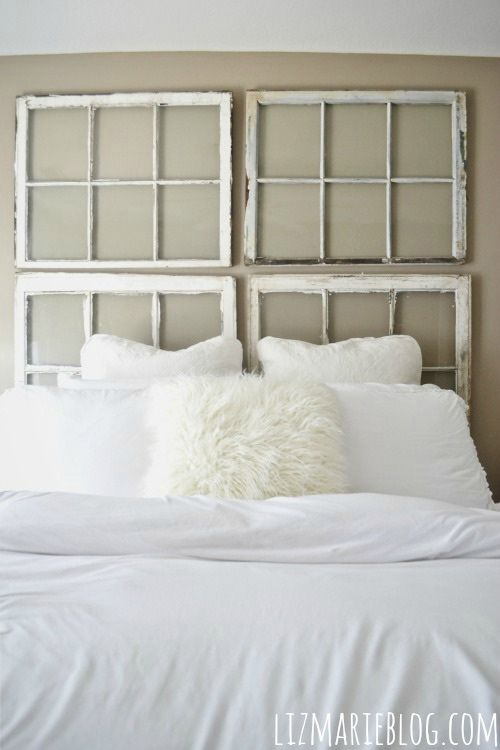 DIY Old window headboard from Liz Marie Blog - Nikki?