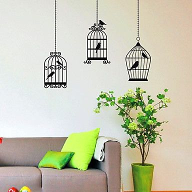 Drie+Birds+Cage+Wall+Stickers+–+EUR+€+19.59