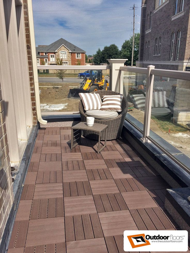 Parquet Checker Board Style Balcony Terrace Decking Brown Ridged WPC Floor Tiles