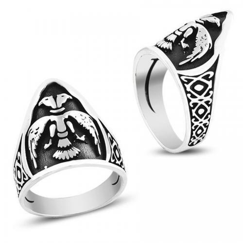 Çift Başlı Kartal Okçu Zihgir Gümüş Erkek Yüzüğü | Nemoda.com.tr