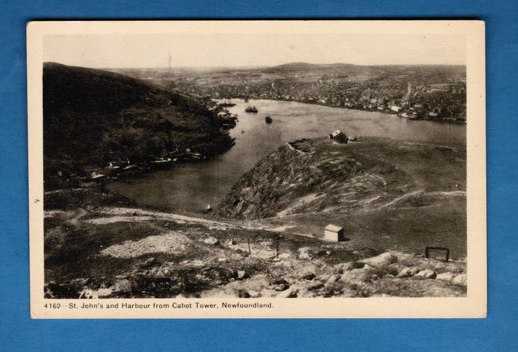 #art RARE Vintage PECO POSTCARD NEWFOUNDLAND - St. John's Harbour from Cabot Tower please retweet