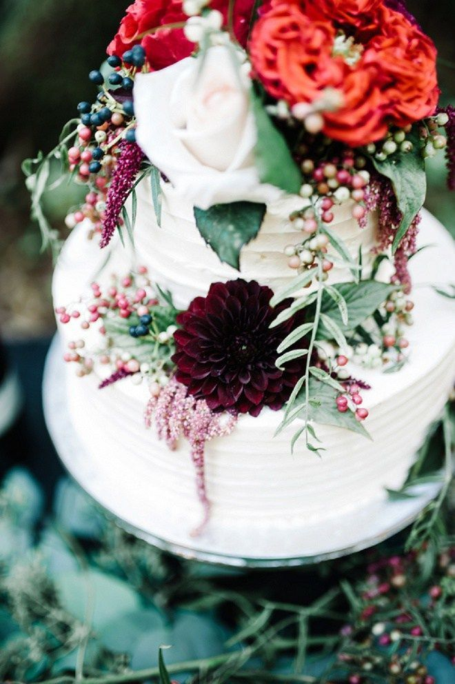 Gorgeously Styled Jewel Toned Wedding Cake in the Forest