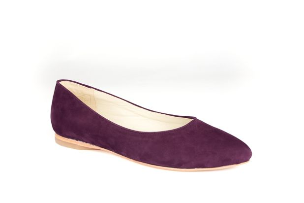 The Classic Point by Poppy Barley Made to Measure, in Royal Purple Nubuck. #Customize your leather colours and hardware. #Handcrafted to your measurements. #Flats #BalletFlats poppybarley.com