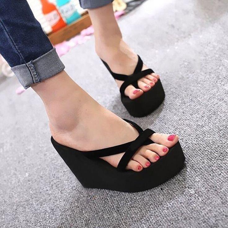 Women Slippers new Fashion Toe Summer Shoes High Heels Women Slides Platform Wedges Ladies Women Shoes