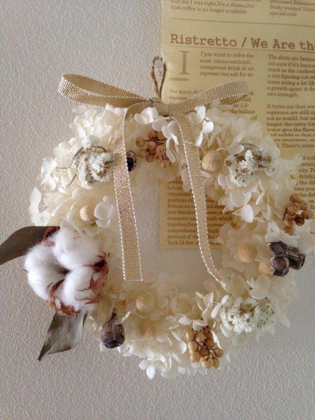 綿の実の白いリース