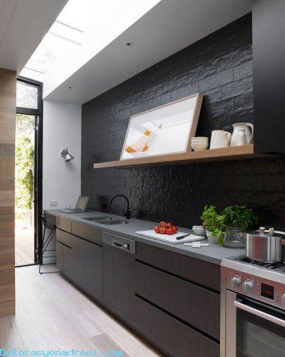 Siyah Mutfak Tasarımları 2016 - http://www.dekorasyonadresi.com/siyah-mutfak-tasarimlari-2016/