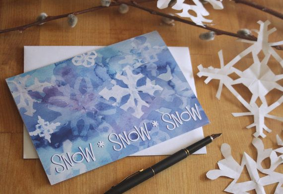 8 Holiday Greeting Cards Snowflake cards by SycamoreWoodStudio