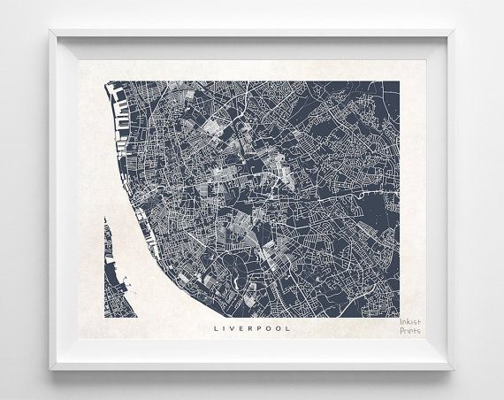 Liverpool Map England Print Liverpool Poster by InkistPrints