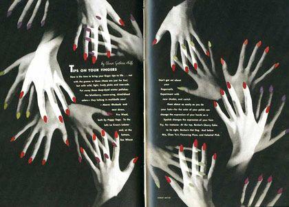 Doble página de Harper's Bazaar 1941, Consejos para sus dedos Fotografías: Herbert Matter Dirección de arte: Alexey Brodovitch