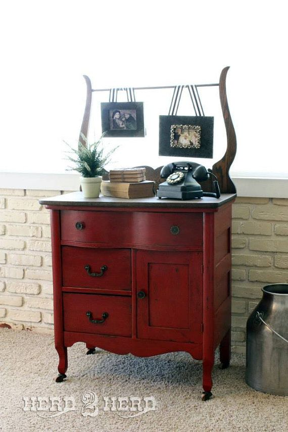 Red Antique Dresser/Wash Stand/Entry Piece