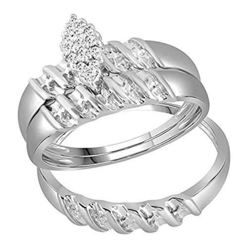 925 Sterling Silver Rhodium Plated Diamond Mens Ring Size-10 0.1cttw