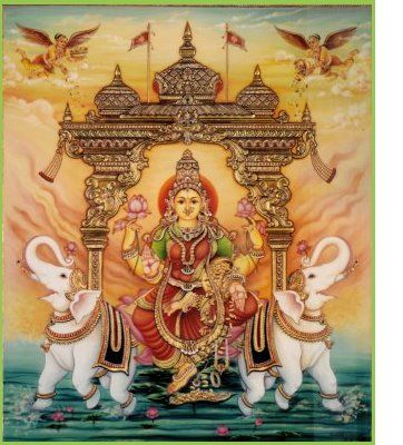 Beautiful God Lakshmi, Tanjore painting.