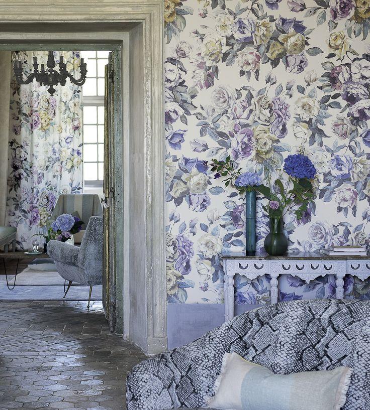Interior Design Trend, Painterly Florals | Viola Wallpaper by Designers Guild | Jane Clayton