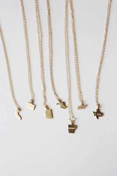 tiny state necklaces.