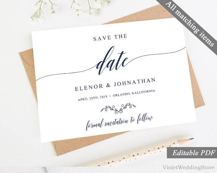 Modern Navy Save the Date Card Template. Printable Navy Save the Date. Calligraphy Elegant Blue Download Editable Classic PDF DIY Invitation http://etsy.me/2Dypxss #weddings #invitation #blue #clear #navy #savethedate #card #template #printable