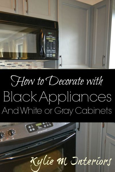 black appliances decorating ideas in a kitchen with gray or white cabinets