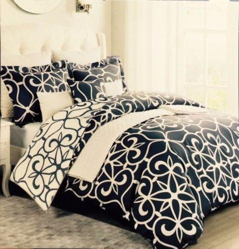 Max studio 3pc full queen duvet set floral fleur de lis navy white reversible - Fleur de lis bed sheets ...