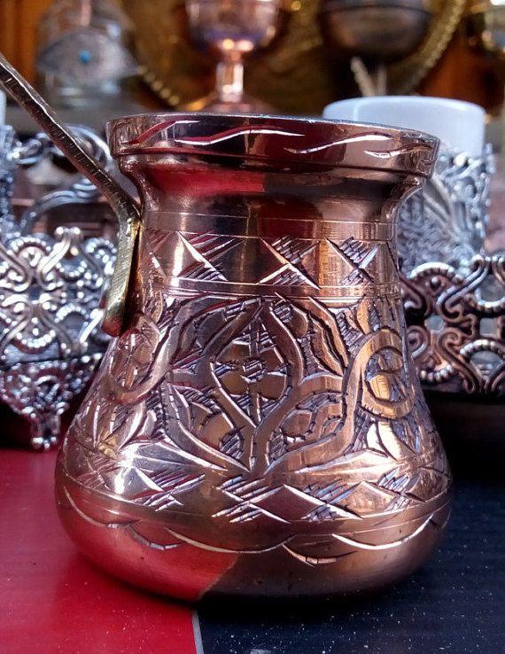 Vintage hanmade coffee pot cezve/Turkish copper by craftartculture