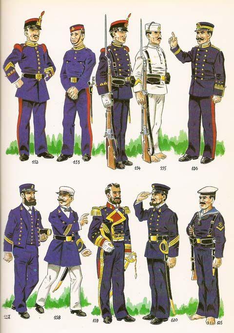 Fig. Nº 112 - CABO 1º DE LA INFANTERIA DE MARINA EN UNIFORME DE GALA PARA PASEO,1887. Fig. Nº 113 - SOLDADO DE INFANTERIA EN UNIFORME DE FAENA .1887-98. Fig. Nº 114 - SOLDADO DE INFANTERIA DE GALA.1896..   Fig. Nº 115 - CABO 2º EN UNIFORME DE SERVICIO DE ARMAS  A BORDO EN CLIMA CALIDO.1897-98. Fig. Nº 116 - CAPITAN EN UNIFORME DE A BORDO. INVIERNO .1897-98. Fig. Nº 117 - CONDESTABLE 2º  EN UNIFORME DE DIARIO A BORDO.1889. Fgi. Nº 118 - CONDESTABLE 1º EN UNIFORME DE DIARIO EN VERANO .1889…