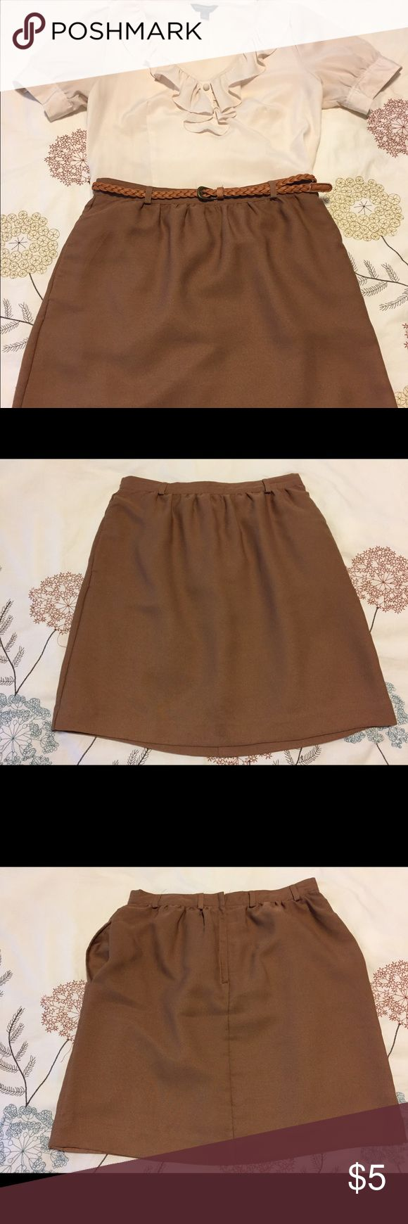 Brown pencil skirt (Forever 21) This brown pencil skirt has pockets! Forever 21, size S, & in excellent condition! Complete this look with my Ruffle Cream Blouse listing! Forever 21 Skirts Pencil