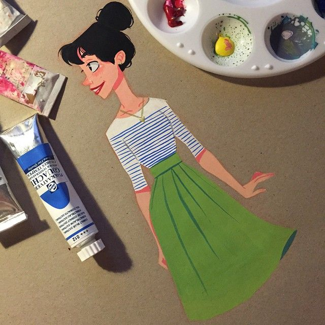 Gouache paint drawing by Pernille Ørum                                                                                                                                                                                 More