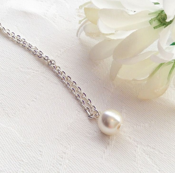 Ivory Pearl Necklace Ivory Pearl Jewelry Single Pearl Necklace Bridesmaid Necklace Wedding by InfinityByClaire on Etsy https://www.etsy.com/listing/230232663/ivory-pearl-necklace-ivory-pearl-jewelry