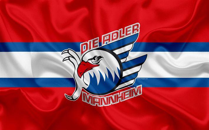 Download wallpapers Adler Mannheim, 4k, German hockey club, logo, emblem, hockey, Deutsche Eishockey Liga, Mannheim, Germany, silk flag, German hockey championship