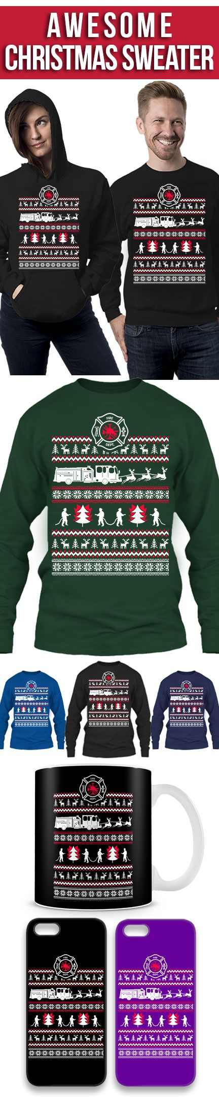 Firefighter Ugly Christmas Sweater! Click The Image To Buy It Now or Tag Someone You Want To Buy This For. #firefighter